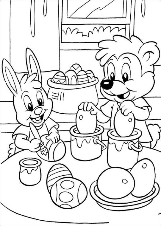 Pasen kleurplaten voor Pasen van paasmandjes, paaseieren en paashazen