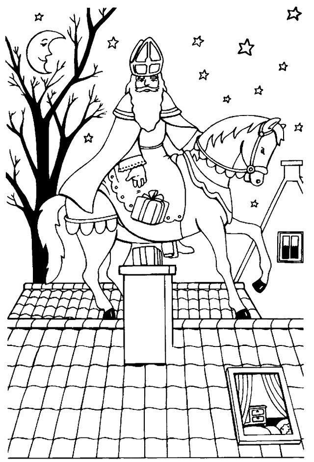Sinterklaas Op Het Paard Kleurplaat Sinterklaas Kleurplaten En Zwarte Piet Kleurplaten Van