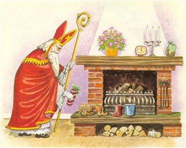 Sinterklaas bij de haard